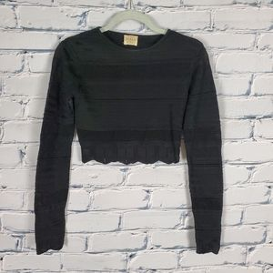 Torn by Ronno Kobo Black Cropped Knit Sweater